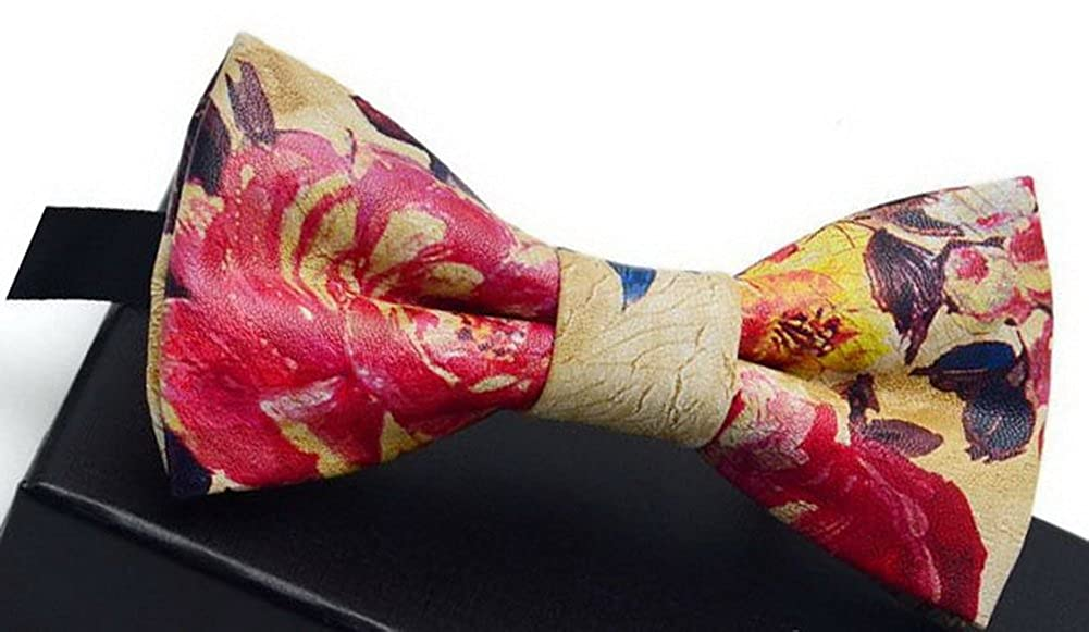 Fashion Mens Printing Bow Tie Wedding Accessory Pattern Bowtie Multicolor Peony