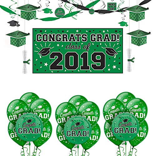 Party City Green Congrats Grad 2019 Graduation Deluxe Decorating Supplies with Banner, Streamers, and Swirls
