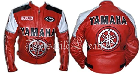 Yamaha rojo moto chaqueta de piel chaqueta de piel de moto ...