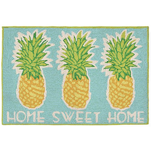 Liora Manne FT012A55104 Whimsy Happy Home Rug, Indoor/Outdoor, Scatter Size, Aqua