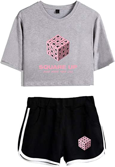 Deplle Blackpink Square Up Logo Summer T Shirt and Sport Running Shorts Two Piece Suit