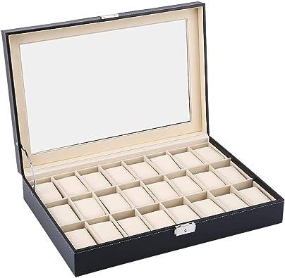 lahomie Caja de 24 Compartimentos para Relojes, Joyas, Maquillaje ...