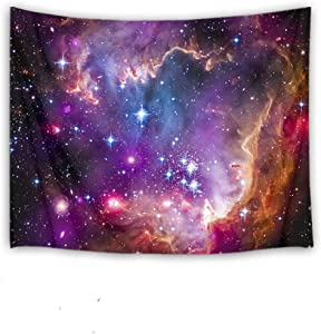 HVEST Nebula Space Tapestry Galaxy Tapestry Wall Hanging Starry Sky Stars Universe Scene Tapestry Wall Hanging for Bedroom Living Room Dorm Wall Decor, 92.5Wx70.9H Inches