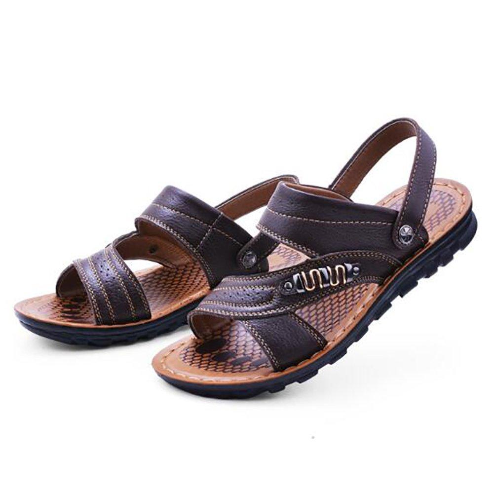 ZJM-sandalia punta abierta para hombre Zapatos de playa Zapatos de pescador antideslizantes de cuero genuino cómodos Marrón cómodo (Color : B, Tamaño : 42) 42|B