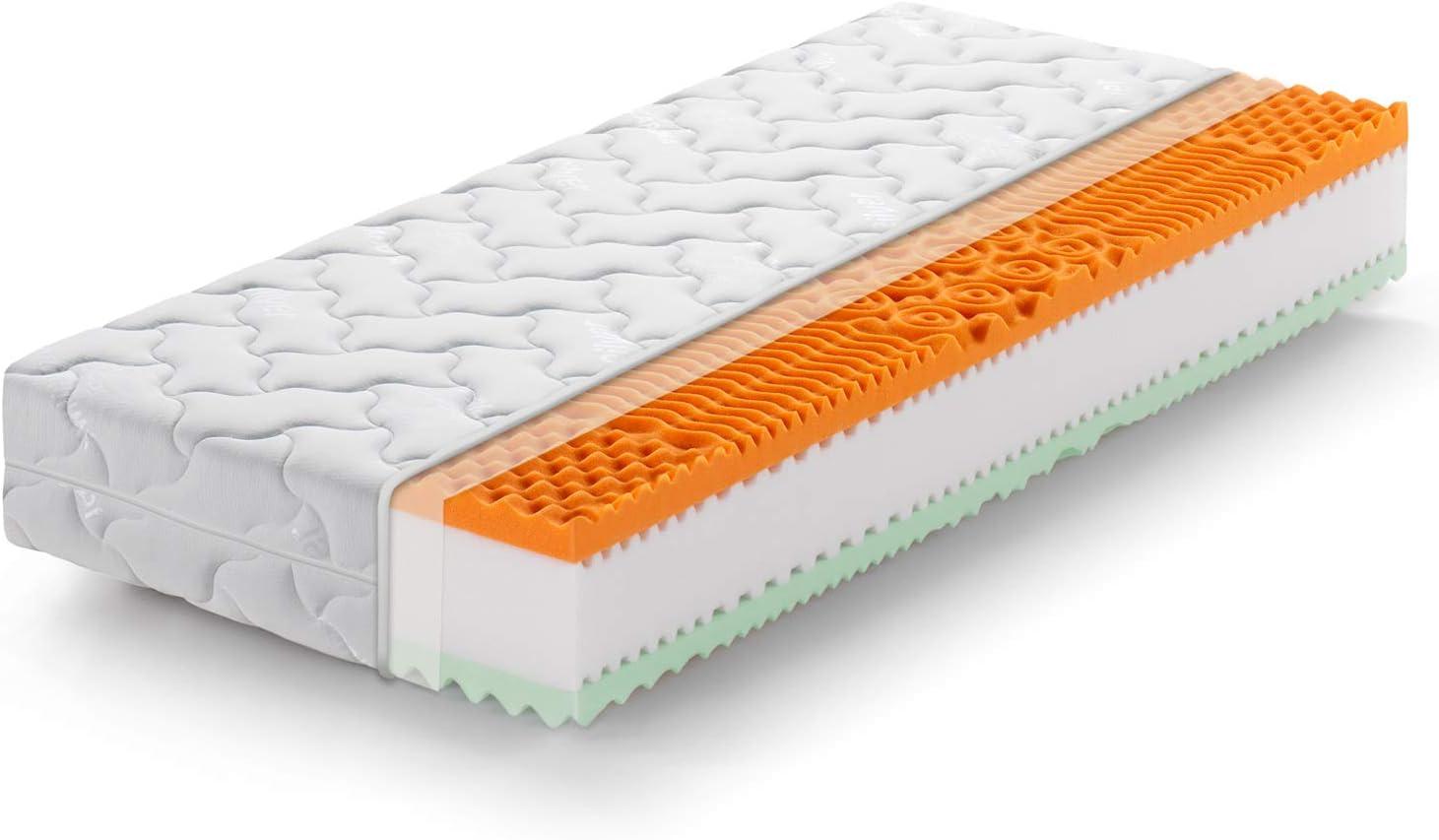 Marcapiuma - Colchón viscoelástico Individual Memory Bio 80x190 Alto 22 cm - Rainbow Plus - H3 Firme 5 Zonas Producto Sanitario CE Funda desenfundable Silver Antiácaros 100% Fabricado en Italia