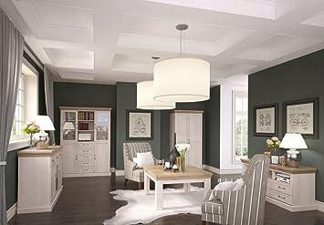 Wohnzimmer Komplett   Set G Badile, 5 Teilig, Farbe: Kiefer Weiß /