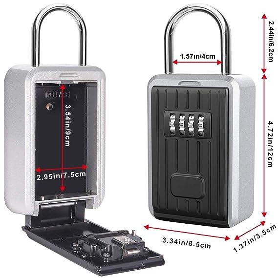 Caja de Seguridad para Llaves, Montaje en Pared Candado Caja Llaves Codigo de 4 Dígitos Combinación, Almacenamiento Seguro para Exterior, Casa, Coche, ...