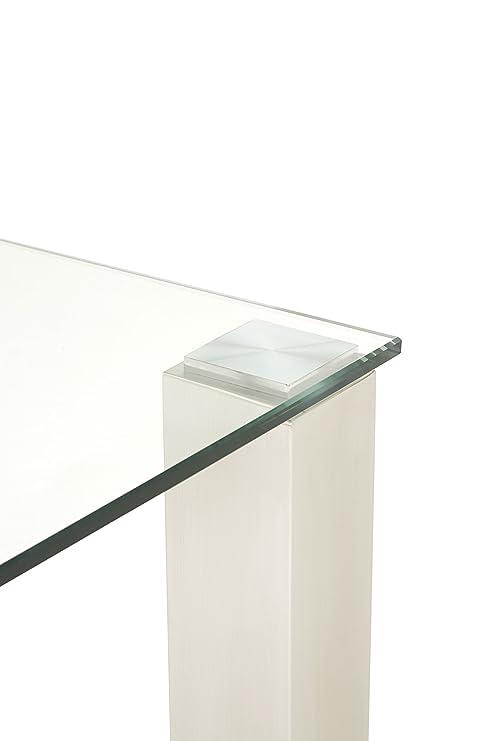 Murcia 180 mesa de cristal templado fijo de acero inoxidable ...