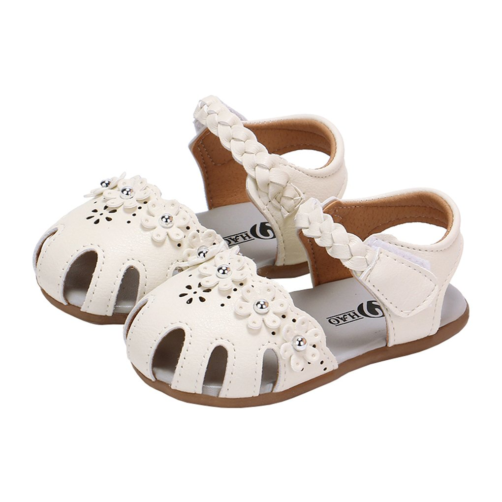 lakiolins Toddler Girl Flower Hollow Closed Toe Braided Ankle Strap Flat Sandal Dress Shoe White Size 16