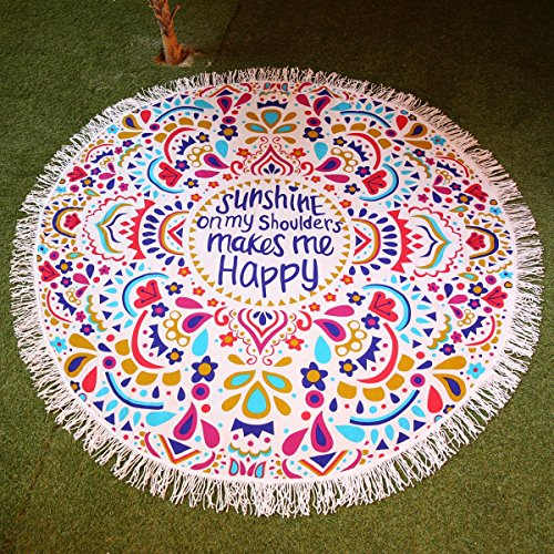 KING DO WAY Round Mandala Tapestry Indian Wall Hanging Beach Throw Towel Yoga Mat Sunscreen Shawl Wrap Skirt Tassels Cotton Beach Towel 59''