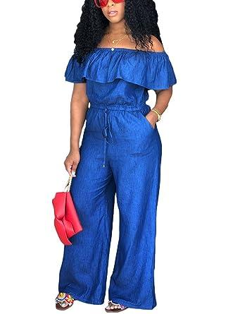 """370621f7af7b  """"Venus Women s Lace Up Denim Jumpsuit Jumpsuits   Rompers – Blue """""""