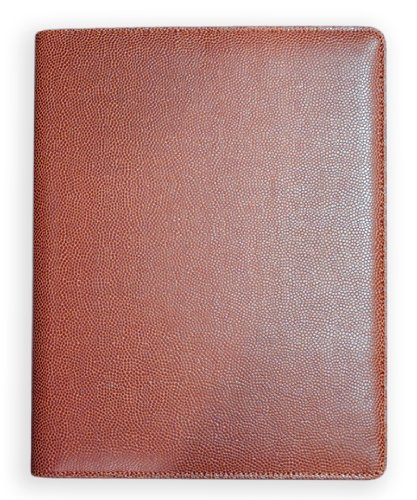 Zumer Sport Football Leather Notepad Portfolio - Made with Actual Football Materials - Large pad Agenda Planner padfolio Book - Ruled Note Paper - Pen Holder - Business Card Holder - Brown by Zumer Sport