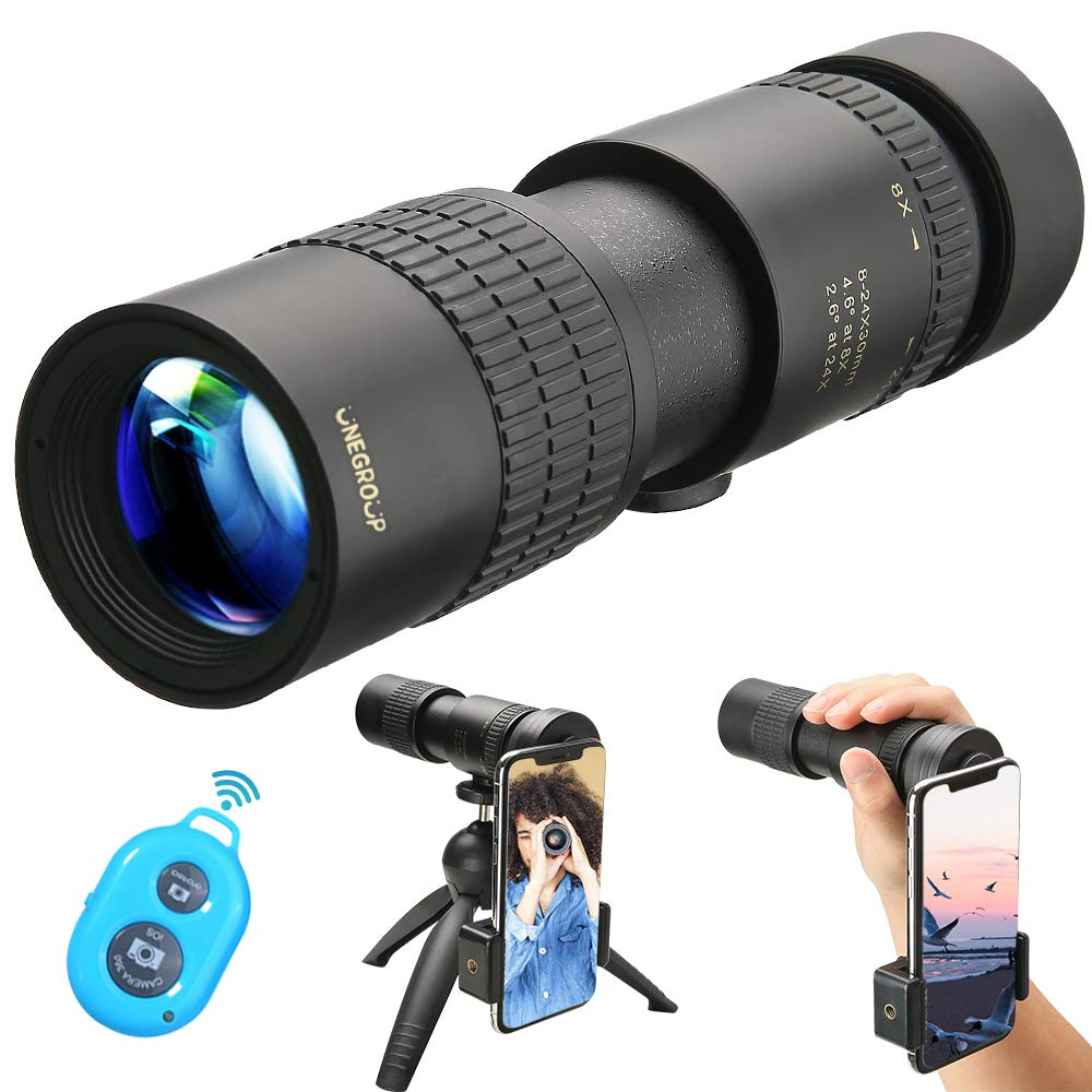UNEGROUP High Power Monocular Telescope, HD Low Night Vision Waterproof Compact Spotting Scope with Smartphone Holder, Wireless Control & Tripod - FMC BAK4 Prism for Bird Watching, Camping, Hiking by UNEGROUP