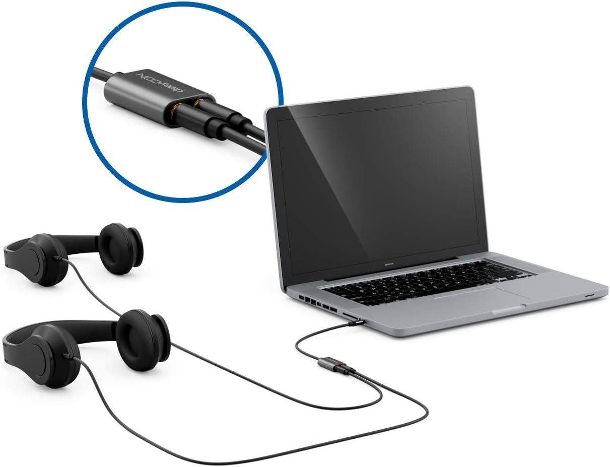 deleyCON 1x 3,5mm Klinke Splitter Audio Stereo AUX Adapter Kabel Klinkenkabel Audiokabel Metallstecker Handy Smartphone Tablet Kopfh/örer HiFi Receiver