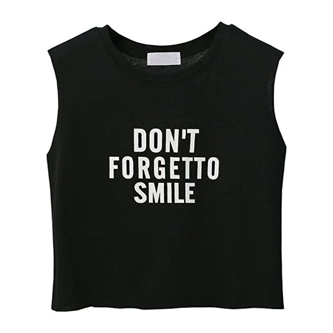 a6870f7dd62 Summer Women Crop Top Shirt Don t Forgetto Smile Letter Printed Sexy  Sleeveless