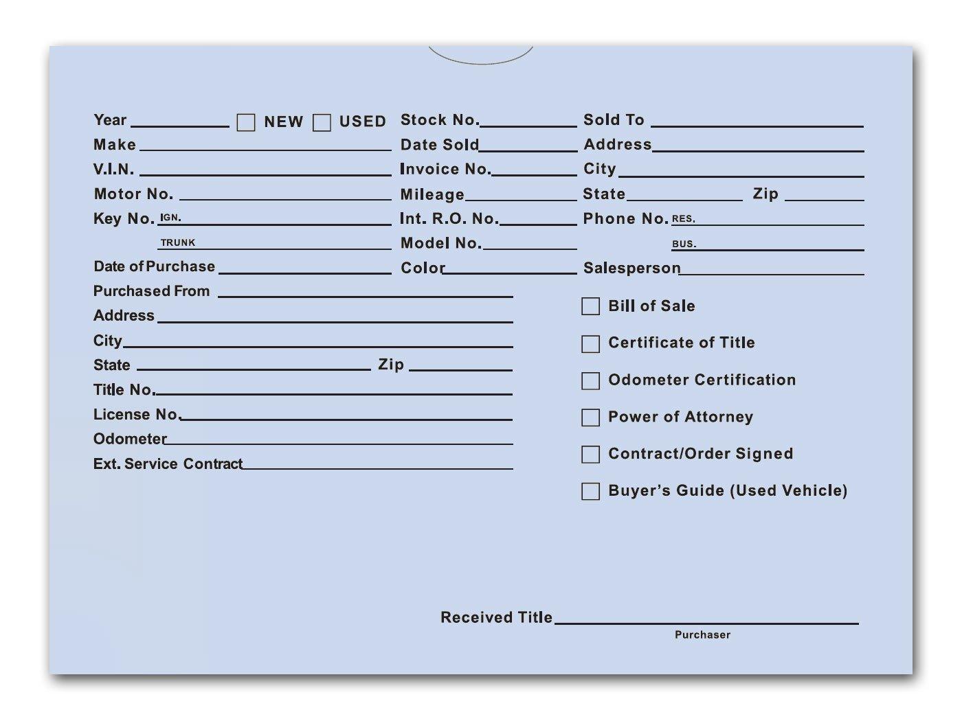 Printed Vehicle Deal Envelopes 9x12 Deal Jackets (100 shrink wrapped) (Blue)