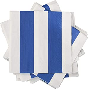 JAM PAPER Small Beverage Napkins - 5 x 5 - Blue Stripe - 16/Pack