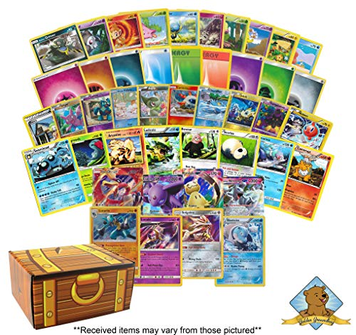 300 Card Premium Pokemon Collection Lot - Featuring 150 Energy - 130 Common/Uncommon Cards - 10 Foils - 6 Rares - 2 Holo Rares - 2 GX Ultra Rare! Includes Golden Groundhog Treasure Chest Storage Box! (Lot Energy Cards Pokemon)
