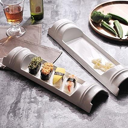 YUWANW Pura Cerámica Blanca Placa Rectangular Larga Plato De Sushi Y Creativo Placa De Vajilla De