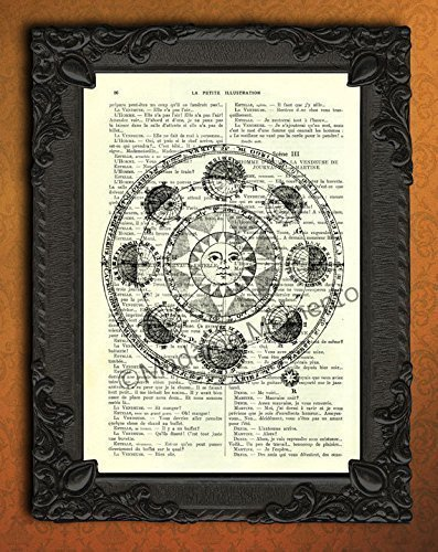 Astrology art print astronomy poster vintage zodiac wall decorations on antique book page
