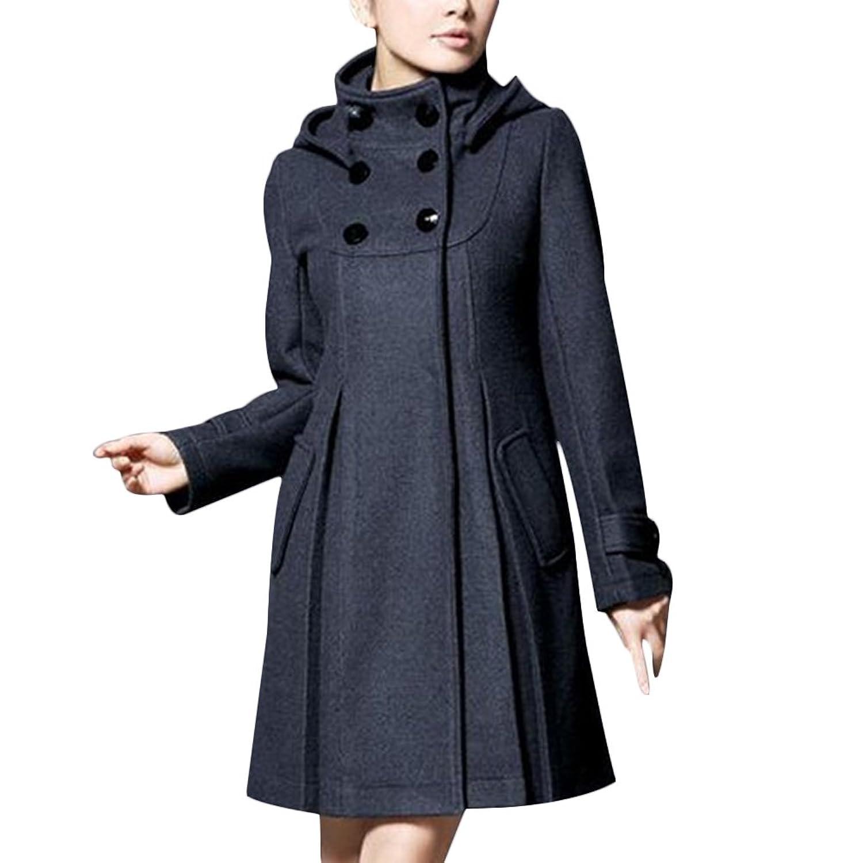Women Wool Coat Elegant Cute Stand Collar Hooded Flared Slim Long Overcoat