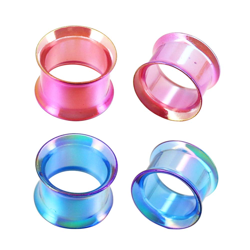COCHARM Ultra-Thin Acrylic Pink and Blue Tunnel Plugs 4 Pack Double Flared Ear Tunnels 00G Plug Earrings 0G 2G Plug COPLG001A10
