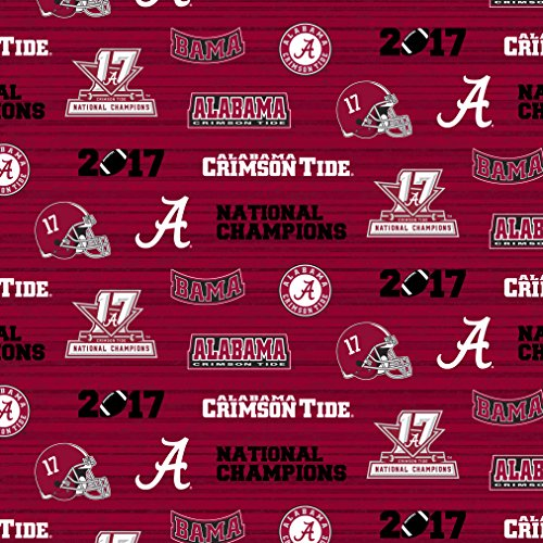 UNIVERSITY OF ALABAMA NATIONAL CHAMPIONSHIP COTTON FABRIC-ALABAMA CRIMSON TIDE COTTON FABRIC WITH NATIONAL CHAMPIONSHIP DESIGN