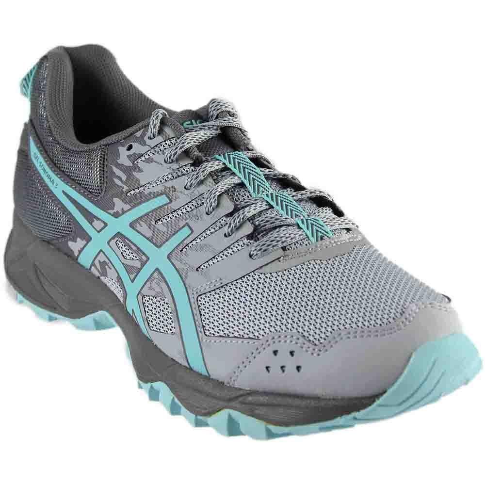 ASICS Women's Gel-Sonoma 3 Trail Runner, Mid Grey/Aqua Splash/Carbon, 11.5 M US