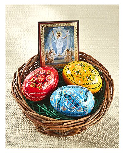 Painted Easter Basket Hand - Alexandra Int'l Hand Painted Ukrainian Wooden Easter Eggs Pysanky Basket Resurrection of Christ Icon 3 Inch