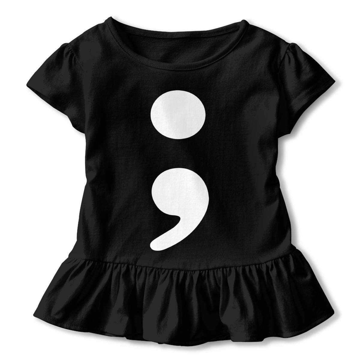 2-6T Kawaii Blouse Clothes with Falbala PMsunglasses Short Sleeve Semi Colon T-Shirts for Girls