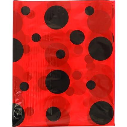 Bolsa de plástico disfraz mariquita. Paquete de 25 bolsas impresas en rojo y negro. Medidas 56 x 70. - Fixo Kids 72305