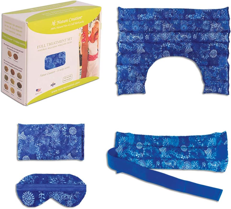 Full Treatment Set- Heating Pad/Cold Pack for Neck, Shoulder, Back, Stomach Pain Relief– Microwavable Hot and Cold Therapy by Nature Creation (Blue Flowers)