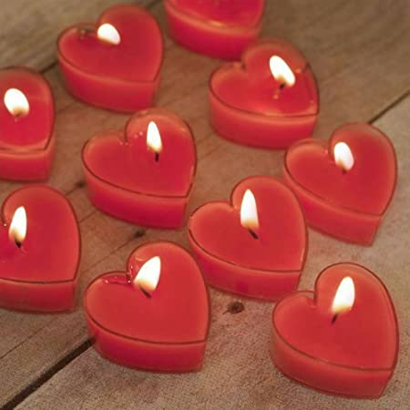 Lighthaus Candles Scented Candles ,Set Of 24 Scented Heart Tealight Candles