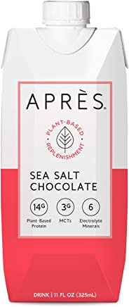 Après Plant-Based Protein Shake (Sea Salt Chocolate, 11 Fl Oz, 12 Bottles) with MCTs & Electrolytes, Vegan, Non-GMO, Dairy-F