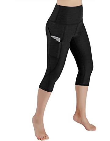bc0d5bcf164f4 ODODOS High Waist Out Pocket Yoga Capris Tummy Control Workout Running 4  Way Stretch Yoga Pants