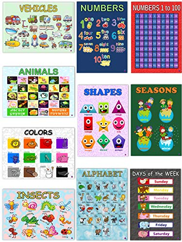 10 Educational Classroom Posters for Preschool and Toddler Learning | Kindergarten Teacher Supplies - ABC Alphabet Poster, Numbers, Shapes, Colors, Vehicles and More by 3D Learning LLF -