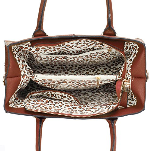 Xardi London–las mujeres bolsas de hombro bolsos de piel estilo señoras niñas Colegio Bolsa A4 marrón
