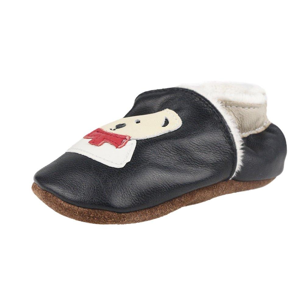 sale retailer 55b0f 421ab LSERVER Chaussures de bébé en cuir souples Hiver Chaude Chaussons Douce  Unisexe Babyshoe-C