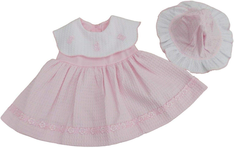 Robe et Chapeau gaufr/é Rose et Blanc pour b/éb/é Fille Rose EVA avec /étiquettes