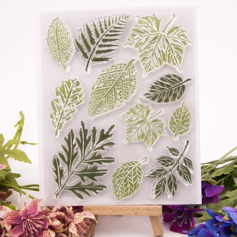 5.3 by 5.9 Inches Flower Love Letters Leaves Clear Rubber Stamps for Scrapbooking Card Making Christmas Valentines Day Stamps