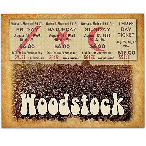 Woodstock Tribute - 11x14 Unframed Art Print - Great Music Bar Decor and Gift for Artists and ()