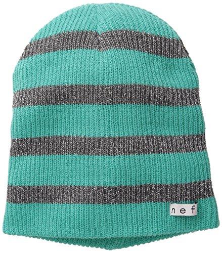 NEFF Women's Daily Sparkle Stripe Beanie Hat, Teal/Grey, One Size (Beanie Stripe Hat Knit)