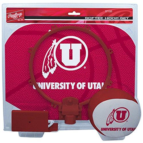 Rawlings NCAA Utah Utes Kids Slam Dunk Hoop Set, Red, Small