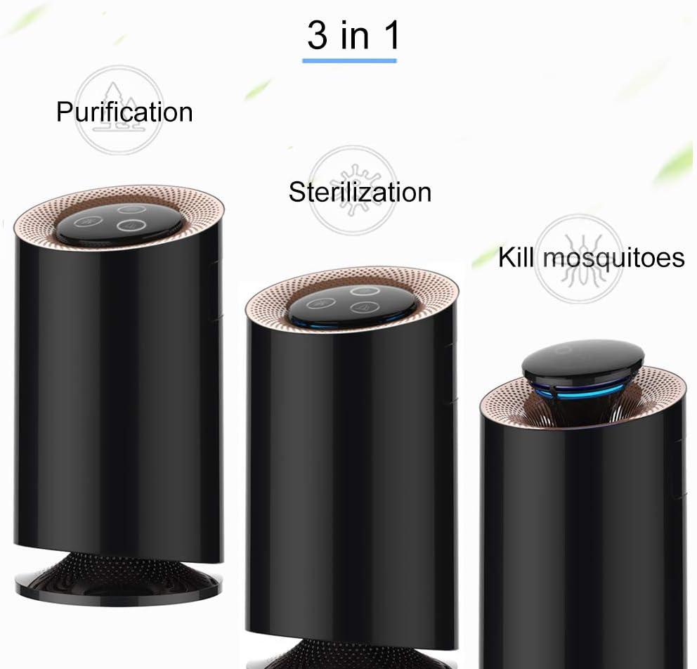 Echoice 3 in 1 Purificador de Aire Multifuncional Bajo Decibelio con Filtro Control de Mosquitos para Hogar Oficina Cocina Alergias Polen Polvo Humo Bacterias Negro