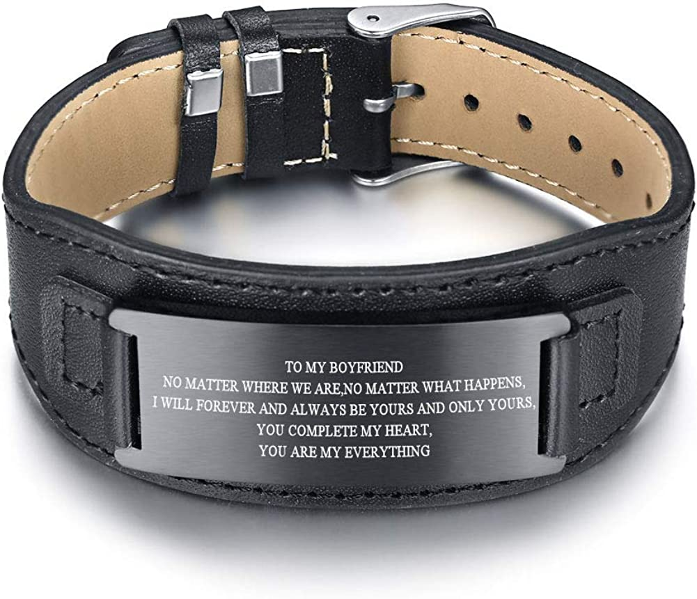 MPRAINBOW Stainless Steel to My Son/DAD,BF/Husband Courage Inpsirational Wristband Leather Bracelets for Men, Birthday Gifts to Son BF,Husband,Dad