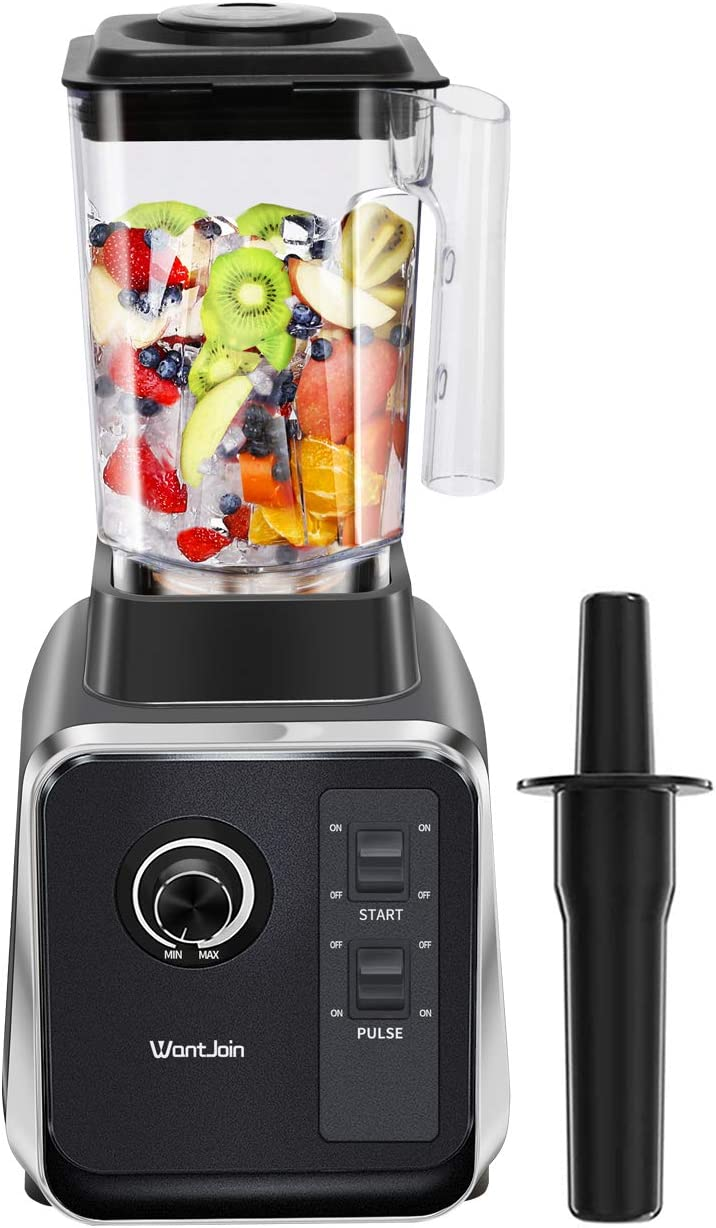 WantJoin Blender Smoothie Maker Ice Crushing Blender 2000W DIY Speed controlled with 2L Tritan Container High Speed 6 Blades in stainless steel for Ice/Nuts/Hot-Soup (Black)