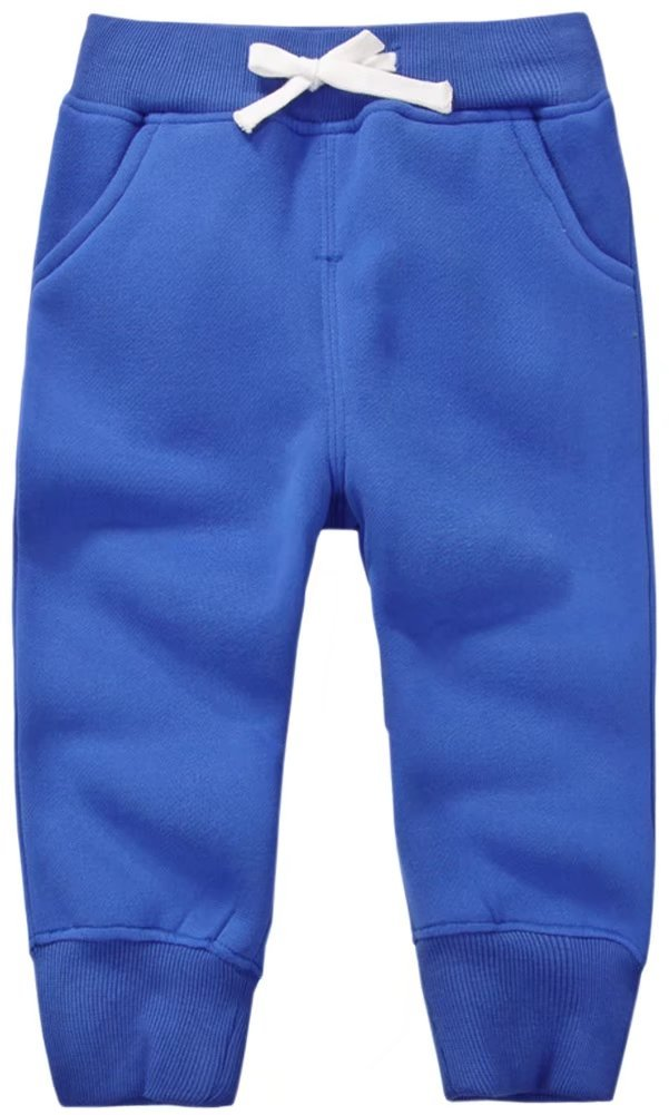 Unisex Kids Fleece Sports Jogger Pants For Toddler Baby, Little Girls, Little Boys Royal Blue, 3-4 Years(3T-4T) = Tag 4Y