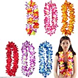 Arlai Pack of 6 Pre-Kindergarten Toys Hawaiian Ruffled Simulated Silk Flower leis