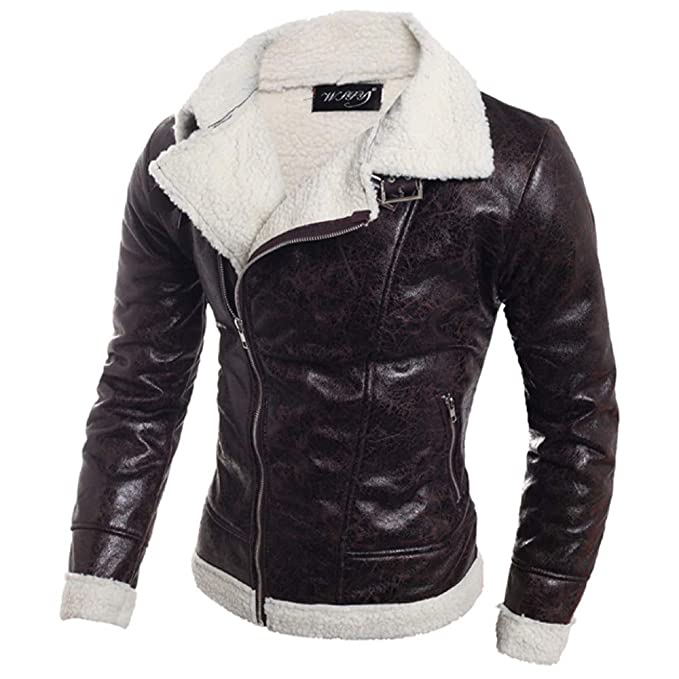 aliveGOT Mens Shearling Sheepskin Bomber Lapel Leather Flying Aviator Jacket
