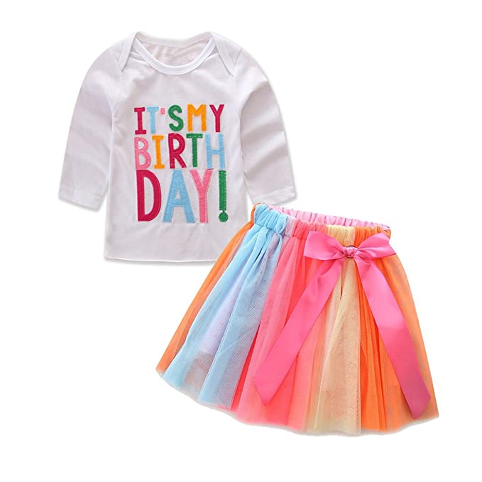 1 6T Toddler Baby Girls Birthday Outfit Set Shirt Rainbow Tutu Skirt